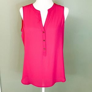 Adrianna Papell Pink Sleeveless High Low Top, EUC